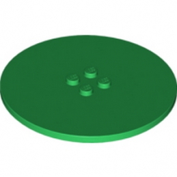 LEGO 6022880 PLATE Ø63.84 W. 4 KNOBS  - DARK GREEN