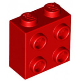 LEGO  6135130  BRIQUE 1X2X1 2/3 W/4 KNOBS  - Rouge