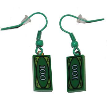 Boucle d'oreille Brique Lego - Billet Vert