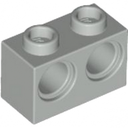 4211541	BRICK 1X2 M. 2 HOLES Ø 4,87 - Medium Stone Grey