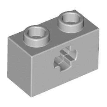 LEGO 4211599  BRIQUE 1X2 WITH CROSS HOLE - MEDIUM STONE GREY