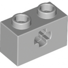 LEGO 4211599  BRIQUE 1X2 WITH CROSS HOLE - MEDIUM STONE GREY