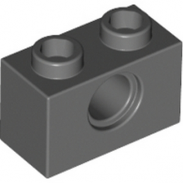 LEGO 4211111  TECHNIC BRIQUE 1X2, Ø4.9 - DARK STONE GREY