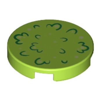 6142097 - Plate Lisse Rond 2x2 - vert Clair Imprimé