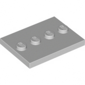 LEGO PLATE 3X4 WITH 4 KNOBS - Médium Stone Grey