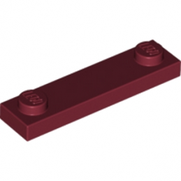 LEGO  6020075 	PLATE 1X4 W. 2 KNOBS - New Dark Red