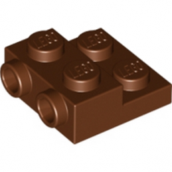 LEGO 6146301 - PLATE 2X2X2/3 W. 2. HOR. KNOB - Reddish brown