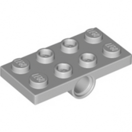 LEGO 6176242 -PLATE 2X4, W/ HOLES DIA. 4.85, BOTTOM - MEDIUM STONE GREY