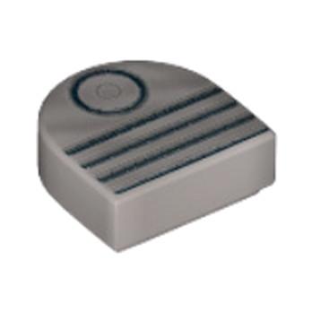 LEGO 6172736 - 1x1 1/2 Arrondi Rond Imprimé  Gris Métal