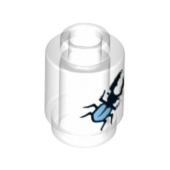 LEGO  6179585 - Brique Ronde 1x1 - Transparent imprimé Insecte