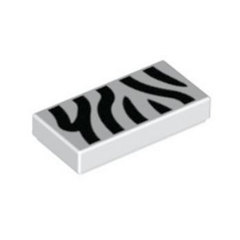LEGO  6172460 - Plate Lisse 1x2 - Blanc Imprimé Zebre