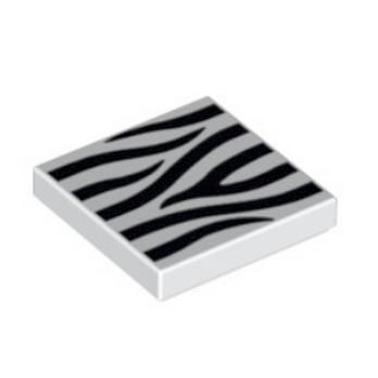 LEGO  6172777 - Plate Lisse 2x2 - Blanc Imprimé Zebre