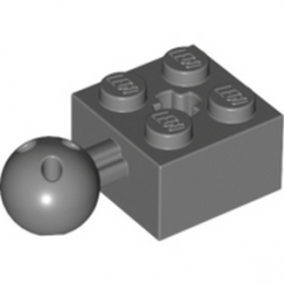 LEGO 4497253 	BRICK 2X2 W. BALL Ø 10.2 - Dark Stone Grey