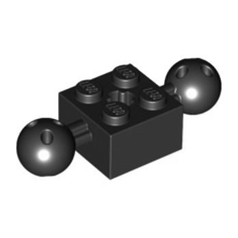 LEGO 6092732BRICK 2X2 W. 2 BALLS Ø 10,2 - NOIR
