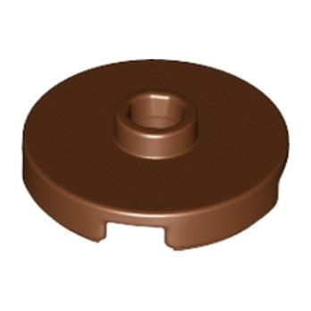 LEGO 6102360  PLATE ROUND W. 1 KNOB  - Reddish Brown