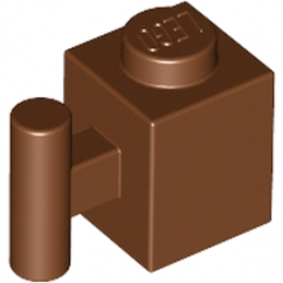 LEGO 4225823 	BRICK 1X1 W. HANDLE - Reddish Brown