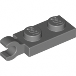 LEGO 4581225	PLATE 2X1 W/HOLDER,VERTICAL - Dark Stone Grey