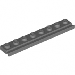 LEGO 4210967 	PLATE 1X8 WITH RAIL - Dark Stone Grey