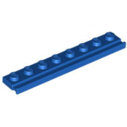 LEGO 451023 	PLATE 1X8 WITH RAIL - BLEU