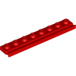 LEGO 6078594 PLATE 1X8 WITH RAIL - ROUGE