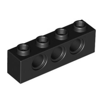 LEGO 370126 TECHNIC BRICK 1X4, Ø4,9 - NOIR