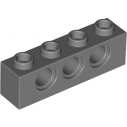 LEGO 4213607	TECHNIC BRICK 1X4, Ø4,9 - Dark Stone Grey