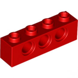 LEGO 370121	TECHNIC BRICK 1X4, Ø4,9 - ROUGE