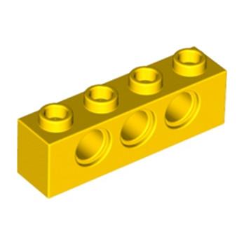 LEGO 370124 TECHNIC BRICK 1X4, Ø4,9 - JAUNE