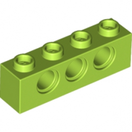 LEGO 6132373 TECHNIC BRICK 1X4, Ø4,9 - Bright yellowish green
