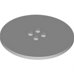 LEGO 4211661 - PLATE Ø63.84 W. 4 KNOBS  - Médium Stone Grey