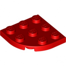 LEGO 4178428  PLATE 3X3, 1/4 CIRCLE - ROUGE