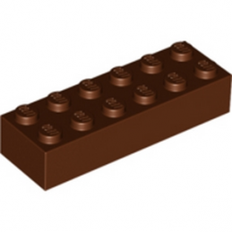 LEGO 4216615 BRIQUE 2X6 - REDDISH BROWN lego-4216615-brique-2x6-reddish-brown ici :