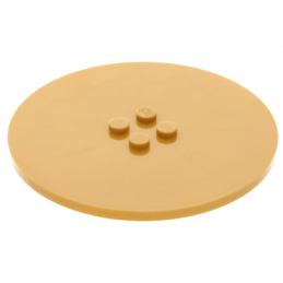 LEGO 6107208 - PLATE Ø63.84 W. 4 KNOBS  - WARM GOLD