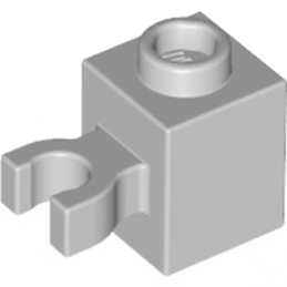 LEGO 4515357 BRIQUE 1X1 W/HOLDER, H0RIZONTAL - MEDIUM STONE GREY