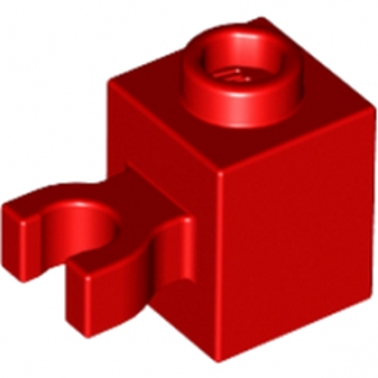 LEGO 6115324 BRIQUE 1X1 W/HOLDER, H0RIZONTAL - ROUGE