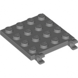 LEGO 6039699 PLATE 4X4 W/VERTICAL HOLDER - DARK STONE GREY