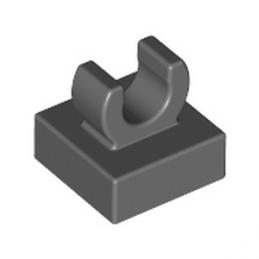 LEGO 6071226	PLATE 1X1 W. UP RIGHT HOLDER - DARK STONE GREY