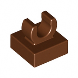 LEGO 6071274 PLATE 1X1 W. UP RIGHT HOLDER - REDDISH BROWN