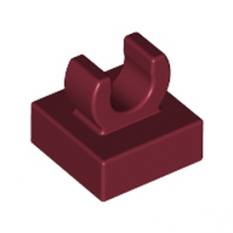LEGO 6071222 PLATE 1X1 W. UP RIGHT HOLDER - NEW DARK RED