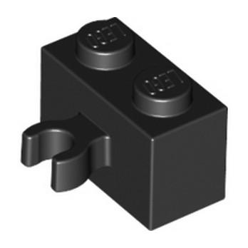 LEGO 6092876 BRIQUE 1X2 W. HORIZONTAL HOLDER - NOIR