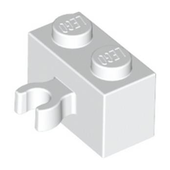 LEGO 6092873 BRIQUE 1X2 W. HORIZONTAL HOLDER - BLANC