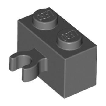 LEGO 6127738 BRIQUE 1X2 W. HORIZONTAL HOLDER - DARK STONE GREY