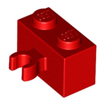 LEGO 6127728 BRICK 1X2 W. HORIZONTAL HOLDER - ROUGE