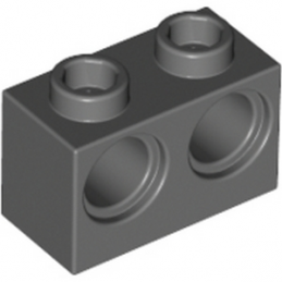 LEGO 4210762 BRIQUE 1X2 M. 2 HOLES Ø 4,87 - DARK STONE GREY