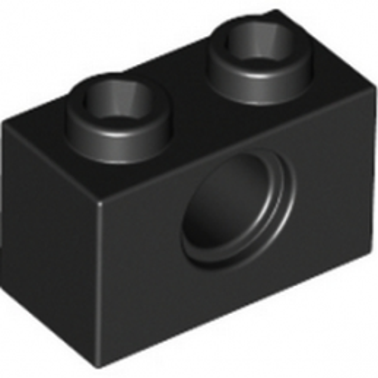 LEGO 370026  TECHNIC BRIQUE 1X2, Ø4.9 - NOIR