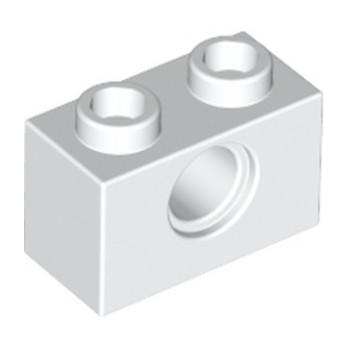 LEGO 370001 TECHNIC BRIQUE 1X2, Ø4.9 - BLANC