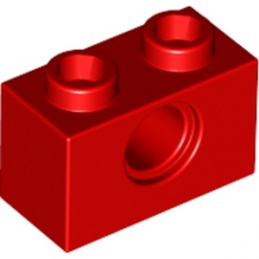 LEGO 370021 TECHNIC BRIQUE 1X2, Ø4.9 - ROUGE