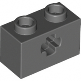 LEGO 4210935 BRIQUE 1X2 WITH CROSS HOLE - DARK STONE GREY