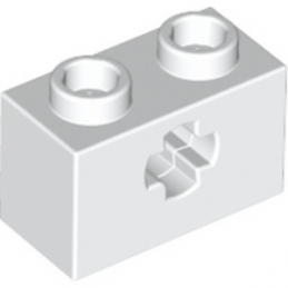 LEGO 4113841  BRIQUE 1X2 WITH CROSS HOLE - BLANC