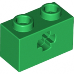 LEGO 4113840 BRIQUE 1X2 WITH CROSS HOLE - DARK GREEN